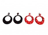 Spanische Ohrringe mit Punkten, rot/weiß, rot schwarz oder schwarz/rot, mit Clip
