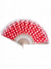 Flamencofächer rot weiß mit Spitze