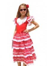 Flamenco Kleid rot weiß, neu
