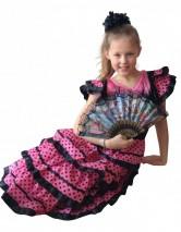 Flamenco Kleid schwarz rosa
