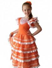 Flamenco Kleid orange weiß