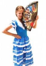 Flamenco Kleid blau weiß, neu