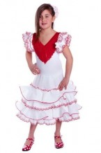 Flamenco Kleid Deluxe weiß rot