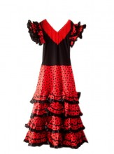 Flamenco Kleider Damen schwarz rot
