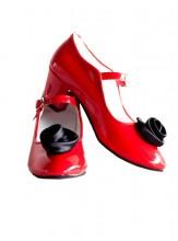 Spanische Schuhe rot Lack mit Rose + gratis Brosche