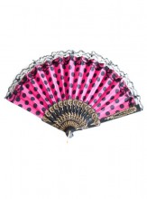 Flamencofächer rosa schwarz mit Spitze