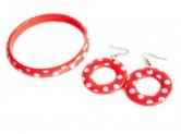 Spanisches Armband und Ohrringe, rot/weiß