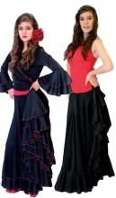 Flamencorock Damen, schwarz mit rotem Rand