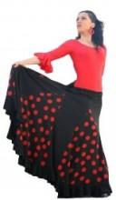 Flamencorock Damen, schwarz mit roten Punkten