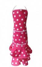 Spanische Schürze rosa mit weißen Punkten Luxus