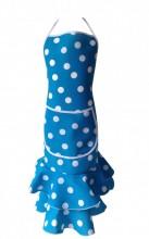 Spanische Schürze blau mit weißen Punkten Luxus