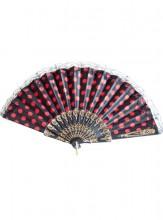Flamencofächer schwarz rot mit Spitze