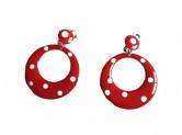 Spanische Flamenco-Ohrringe rot/weiß, kleines Modell Clip