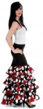 Flamenco rock Damen, mit Rosen und Volants