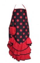 Spanische Flamencoschürze schwarz/rot NEU