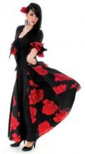 Flamenco Kleid Damen Deluxe mit Rosen