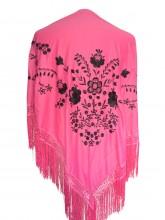 Spanischer Manton/Tuch, rosa/schwarz
