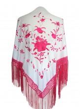 Spanischer Manton/Tuch, weiß/rosa