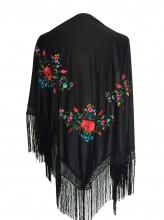 Spanischer Manton/Tuch, schwarz mit Blumen