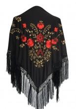 Spanischer Manton/Tuch, schwarz/gold mit roten Blumen
