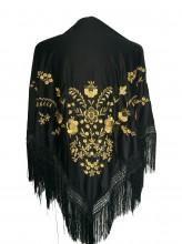 Spanischer Manton/Tuch, schwarz mit golden Blumen