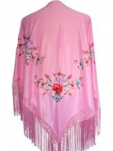 Spanischer Manton/Tuch, leicht rosa mit Blumen