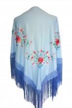 Spanischer Manton/Tuch, leicht blau mit Blumen