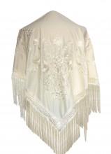 Spanischer Manton/Tuch, weiß mit weißen Blumen