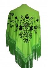 Spanischer Manton/Tuch grün schwarz