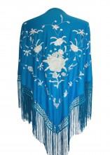 Spanischer Manton/Tuch, blau/weiß