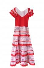 Flamenco Kleider Damen rot weiß