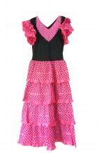 Flamenco Kleider Damen rosa schwarz