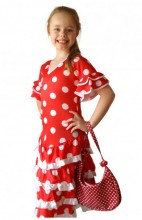 Flamenco Kleid Deluxe rot weiß