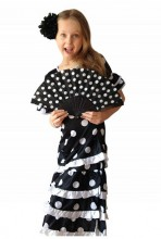 Flamenco Kleid Deluxe schwarz weiß