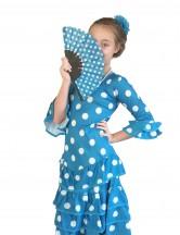 Flamenco Kleid Deluxe blauw weiß