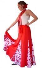 Spanische Flamenco rock Damen, rot / weiß