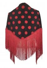 Spanischer Manton/Tuch, mit Punkten schwarz/rot