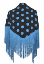 Spanischer Manton/Tuch, mit Punkten blau/schwarz