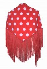 Spanischer Manton/Tuch, mit Punkten rot/weiß