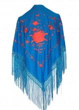 Spanischer Manton/Tuch, blau mit roten Blumen