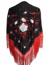 Spanischer Manton/Tuch, schwarz/rot weiß Größe L