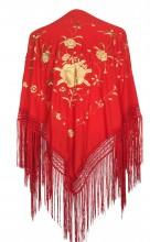 Spanischer Manton/Tuch, rot mit golden Blumen Größe L
