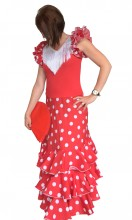 Flamenco Kleider Damen Deluxe rot weiß