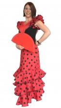 Flamenco Kleider Damen Deluxe rot schwarz