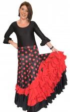 Flamenco Rock Damen mit Punkten und Rote Volants