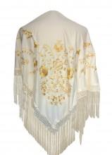 Spanischer Manton/Tuch, creme weiß mit golden Blumen Größe L