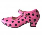 Spanische Flamenco Schuhe hell rosa schwarz
