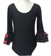 Flamencobody Damen, schwarz roten Punkten - mit halblangen Ärmeln