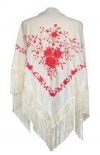 Spanischer Manton/Tuch, creme weiß mit roten Blumen