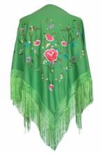 Spanischer Manton/Tuch dunkel grün mit Blumen